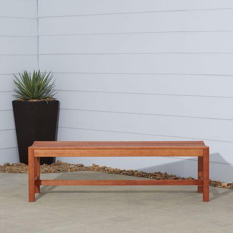 banc de jardin en bois sans dossier de 5 pieds avec patio exterieur malibu