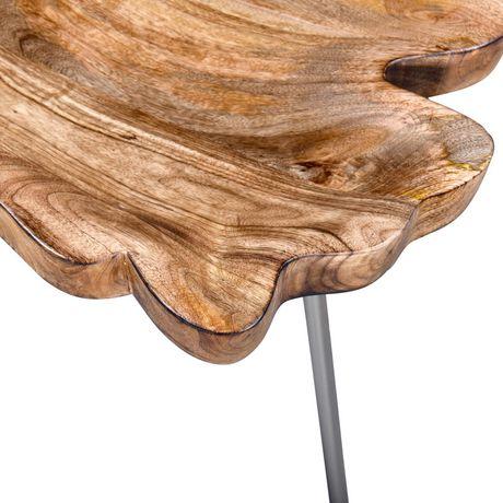 table d appoint rustique moderne en bois massif et metal naturel avec pattes chromees