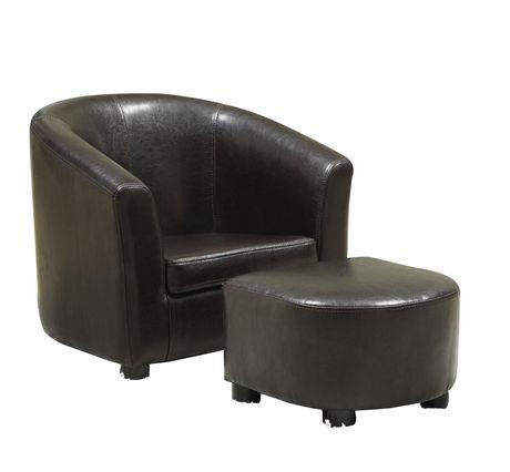 ensemble chaise et pouf juvenile en similicuir de monarch specialties walmart canada