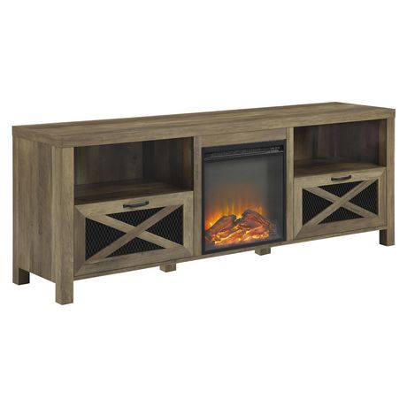 meuble de television style campagnard rustique avec foyer de 177 8 cm 70 po chene rustique