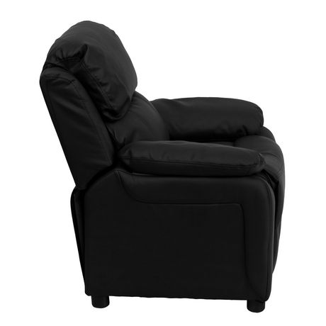 deluxe padded contemporary black leather kids recliner with storage arms