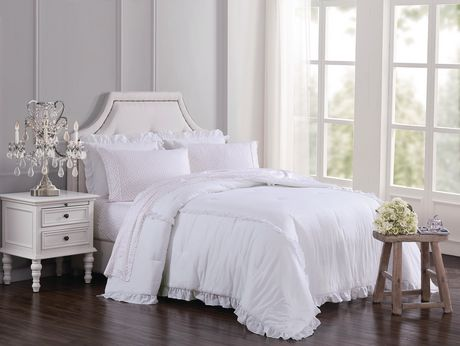 shabby chic white ruffle comforter set