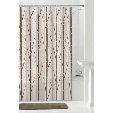 mainstays peva woodland shower curtain or liner 70 inches x 72 inches brown