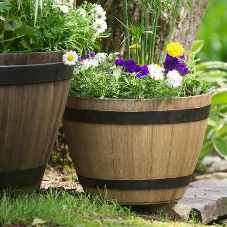 southern patio wine barrel planter
