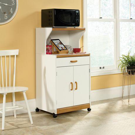 sauder sauder select meuble pour micro ondes finition blanc doux 403469