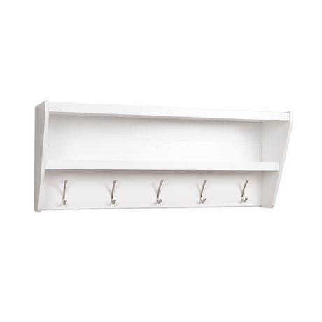 prepac floating entryway shelf coat rack in white