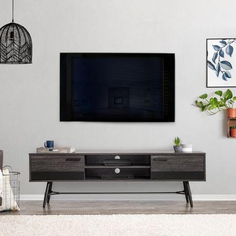 corliving aurora banc tv bicolore avec pieds evases pour les televiseurs jusqu a 80 po