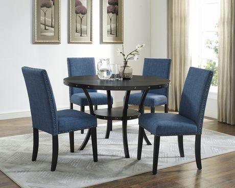 set de salle a manger 5 pieces indira table 4 chaises bleu