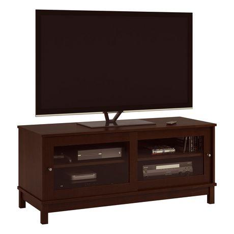 meuble tv avec portes coulissantes en verre pour les televiseurs jusqu a 55 cerisier fonce