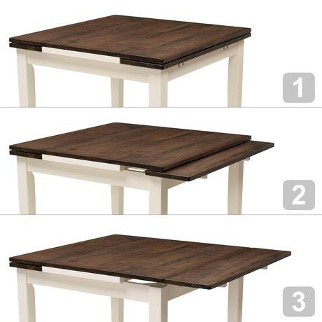 table rectangulaire extensible dillon de corliving en bois brun et creme pour salle a manger