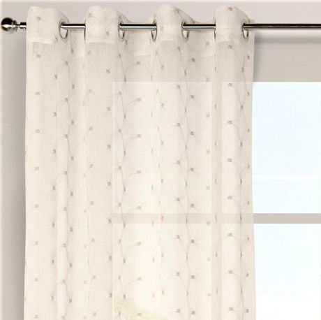 caricia home ross sheer embroidered geometric one 1 grommet curtain panel 54 x 84 linen beige