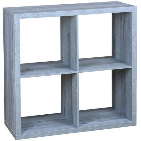 4 etageres de rangement en bois pour organisation en cube gris