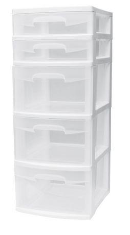 caisson a 5 tiroirs de sterilite en blanc