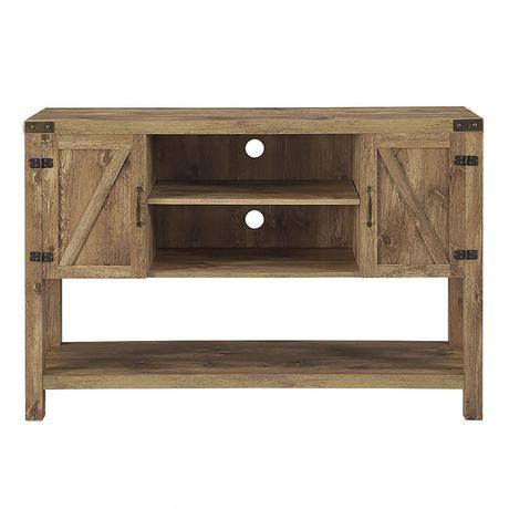 manor park meuble tv console table porte de grange en bois de 132 cm 52 po