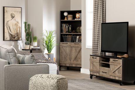 valet meuble tv industriel sur roulettes chene vieilli et ebene de meubles south shore