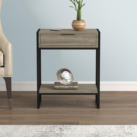 safdie co table d appoint taupe fonce 1 tiroir 1 etagere noir metal