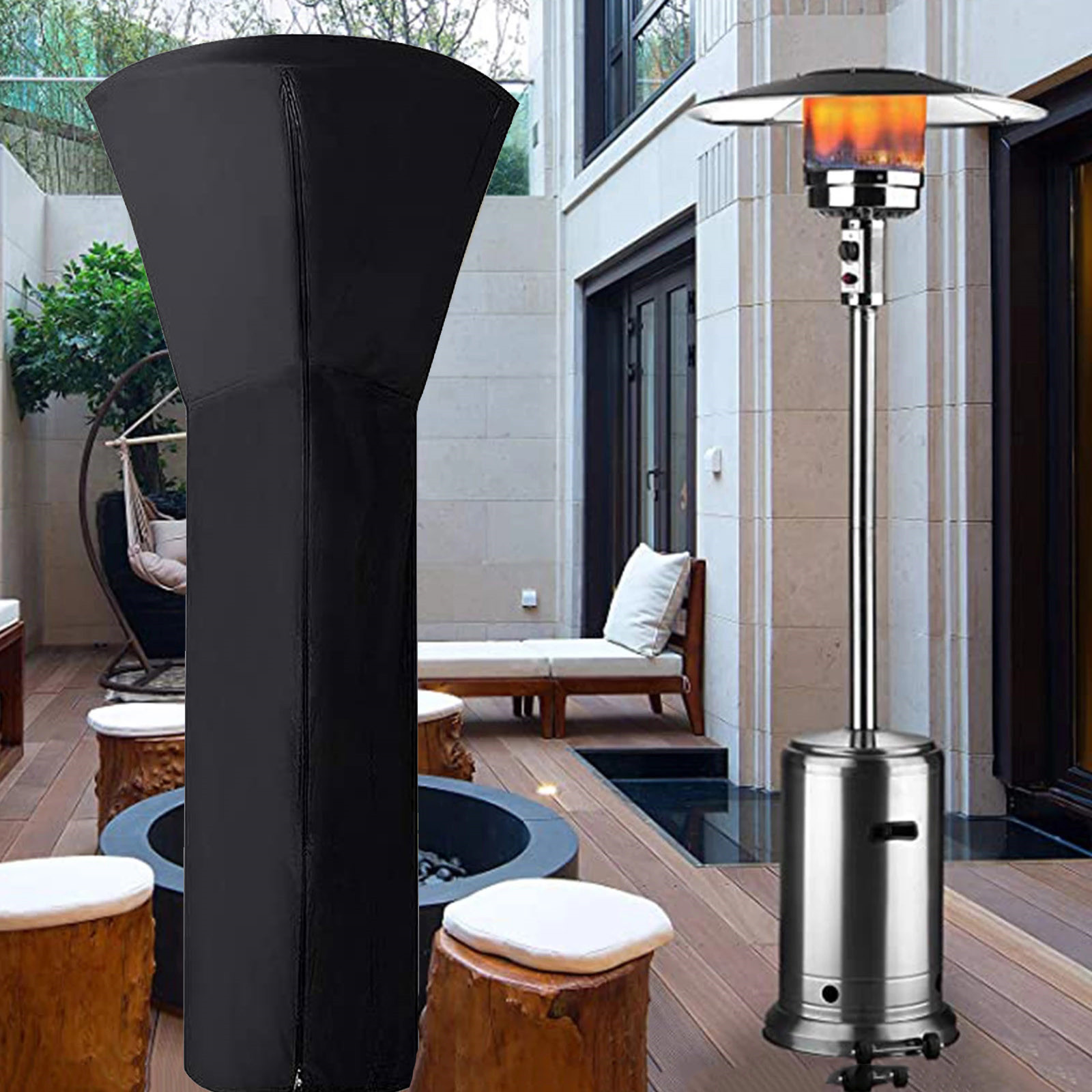 outdoor patio heater covers waterproof with zipper heavy duty round stand up patio heater cover outdoor include strut 89 h x 33 d x 19 l black