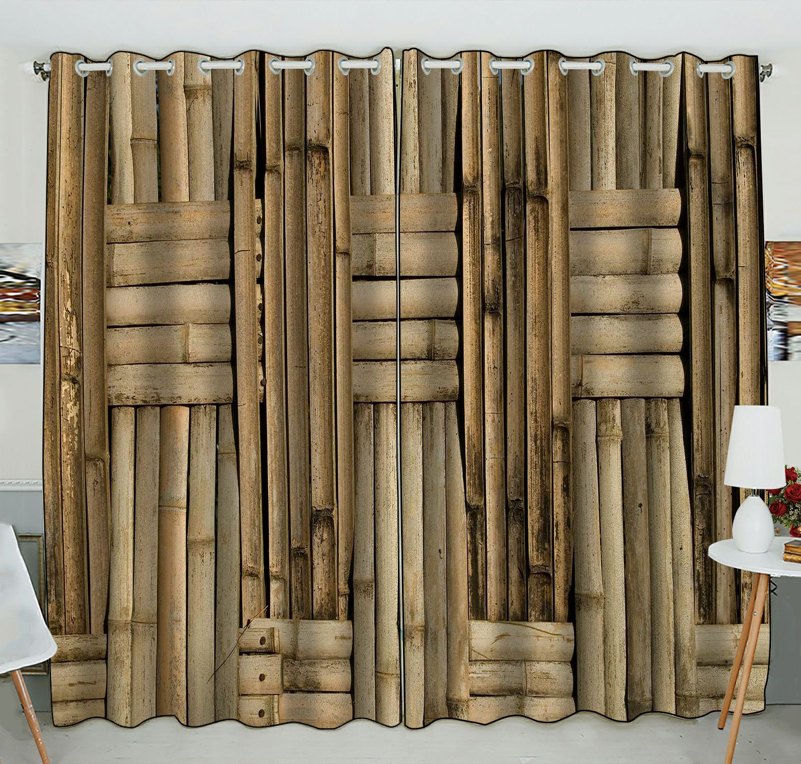 zkgk nature bamboo wall window curtain drapery panels treatment for living room bedroom kids rooms 52x84 inches two panel