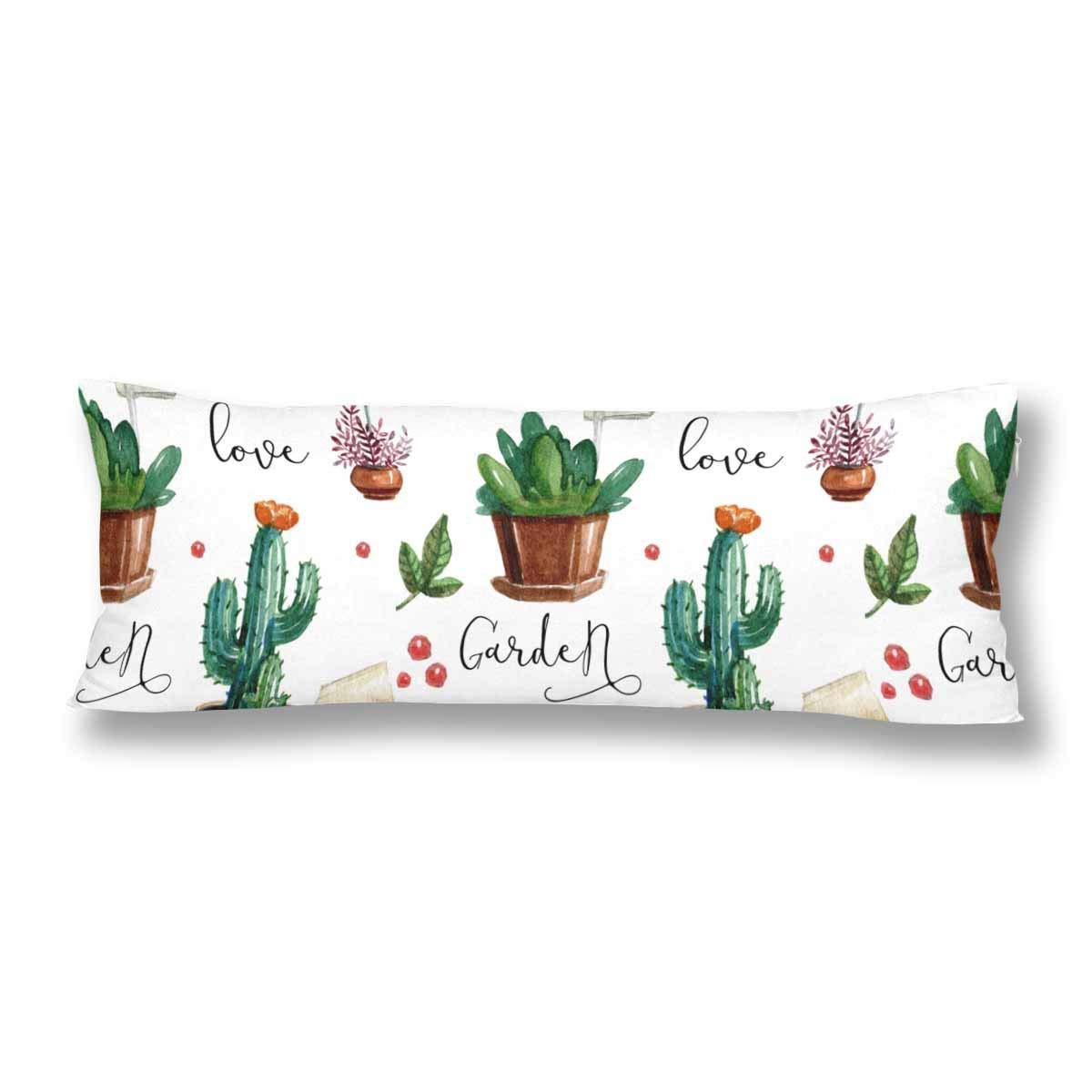 abphoto watercolor flower pots love cactus leaves body pillow covers pillowcase 20x60 inch succulent plant body pillow case protector