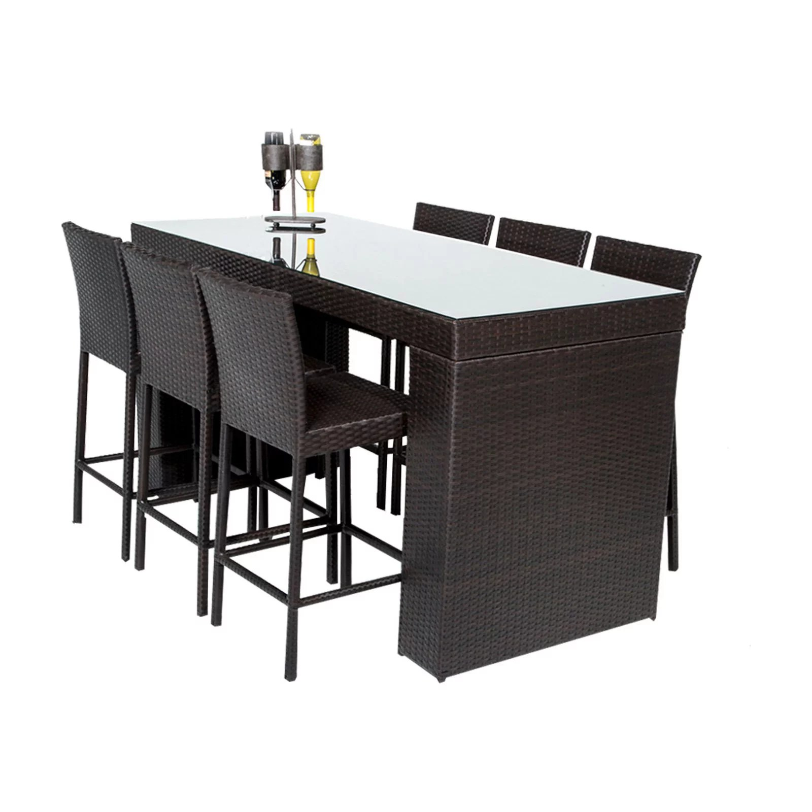 tk classics barbados 7 piece wicker bar height patio dining set