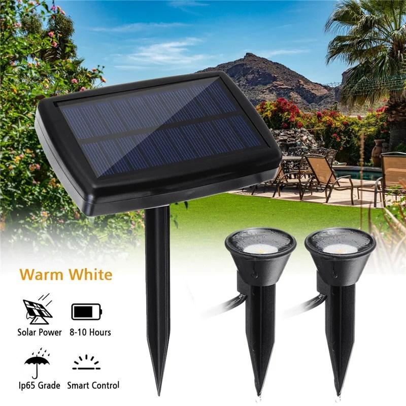 waterproof led solar power security spotlights outdoor garden landscape lighting exterior lights for tree flag yard pool lawn driveway light fixture