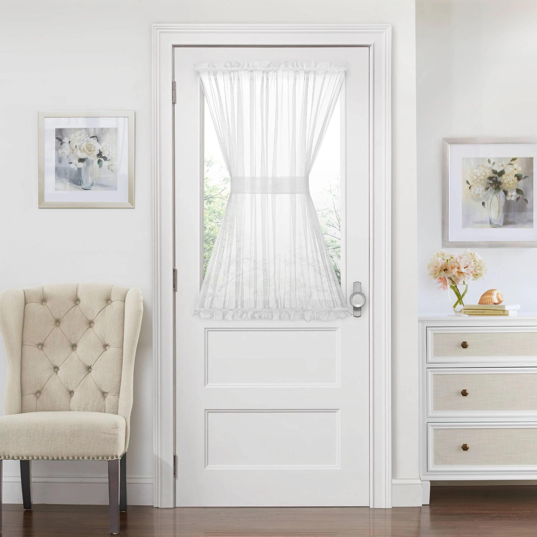 Luxurious Batiste Semi Sheer French Door Curtain Panel With Tieback White 45 In Walmart Com Walmart Com