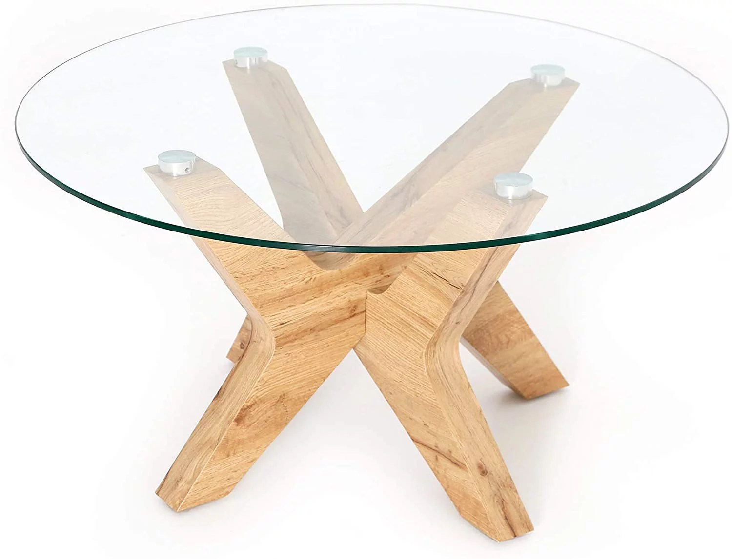 ivinta glass coffee table round industrial design with wood frame for living room home dining room 32inch