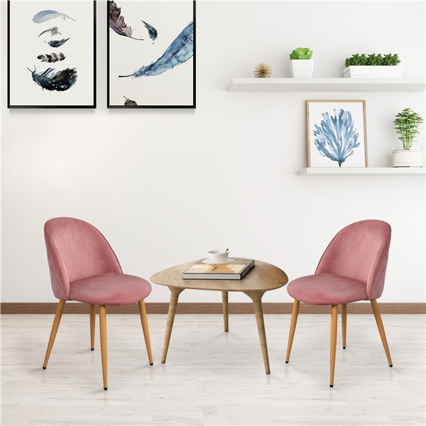 smilemart mid century modern upholstered dining chairs with wooden styled legs set of 2 pink velvet
