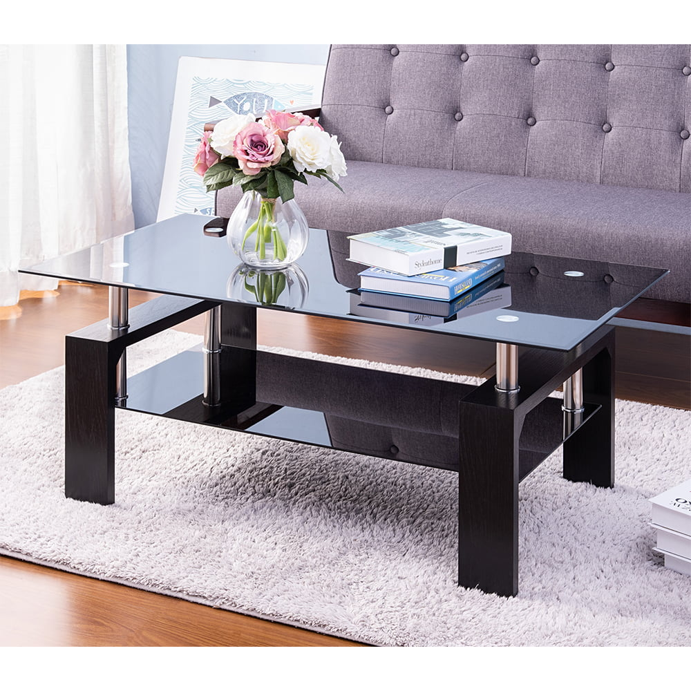 black glass coffee table sturdy modern living room side coffee table with storage shelf wooden legs heavy duty rectangle sofa side tables cocktail