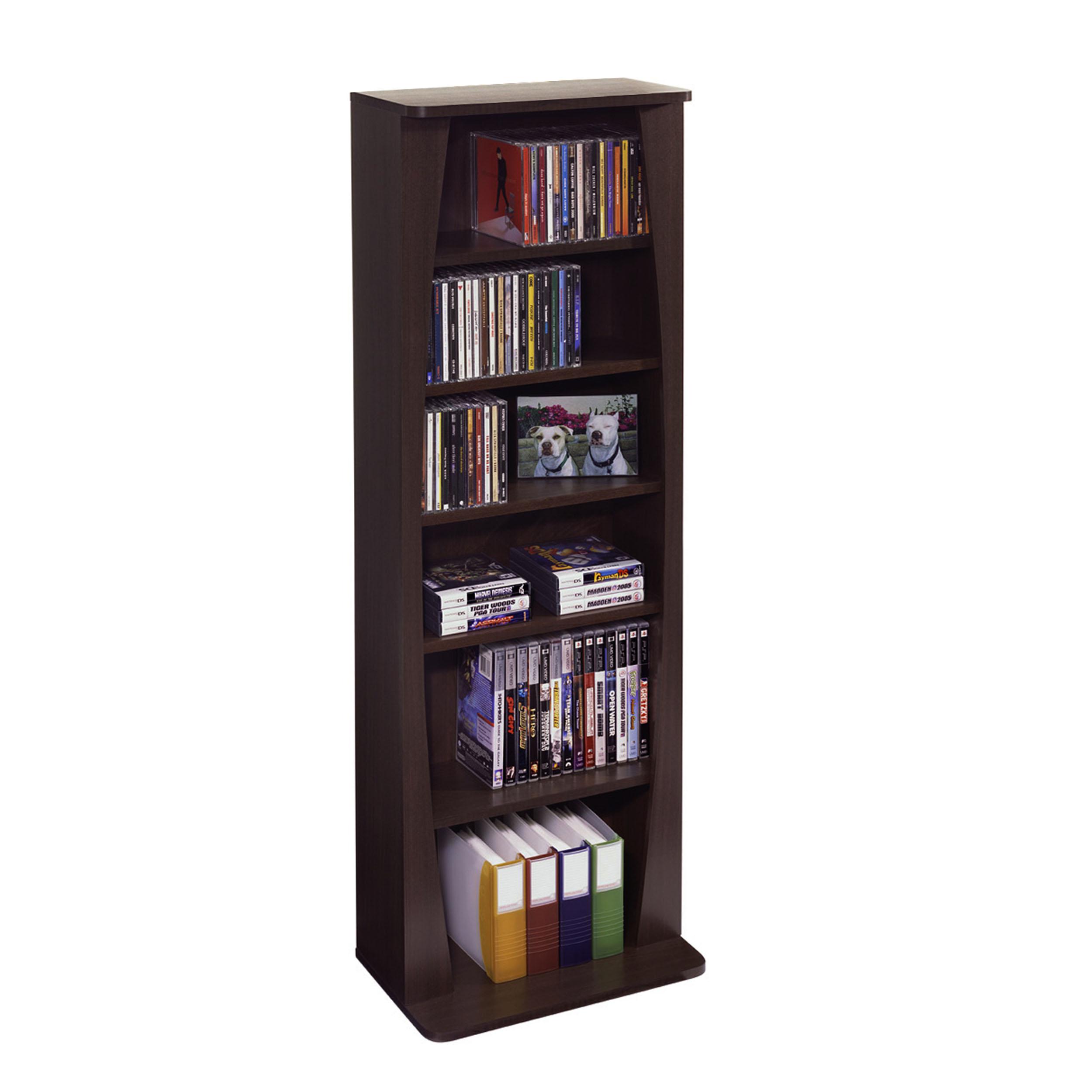 Atlantic 43 Canoe Multimedia Bookcase Storage Shelf 231 Cds 115 Dvds 140 Blurays Walmart Com