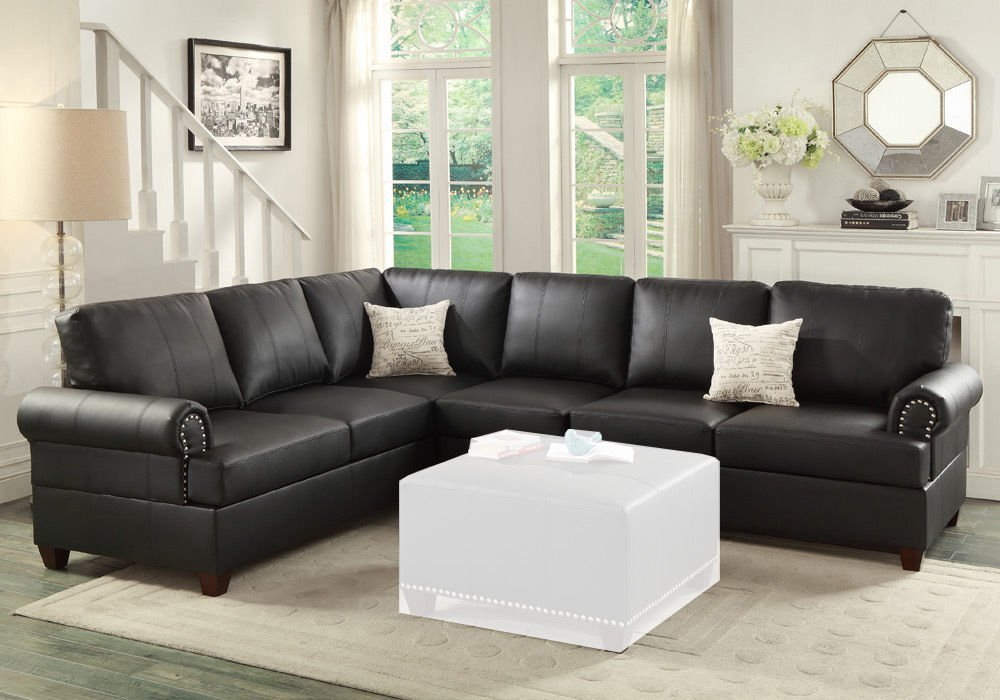 simple relax reversible loveseat wedge couch sectional sofa trim black bonded leather