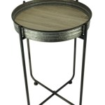 Rustic Galvanized Metal And Wood Round Accent Table Walmart Canada