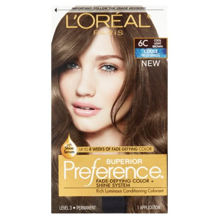 l oreal paris superior preference fade defying color shine hair color 6c cool light brown 1