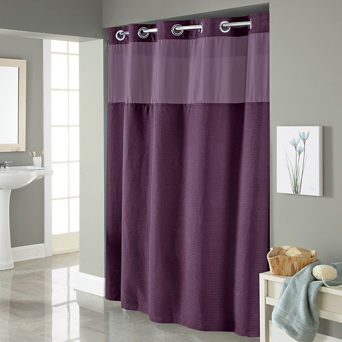 hookless waffle 71 inch x 74 inch fabric shower curtain in purple