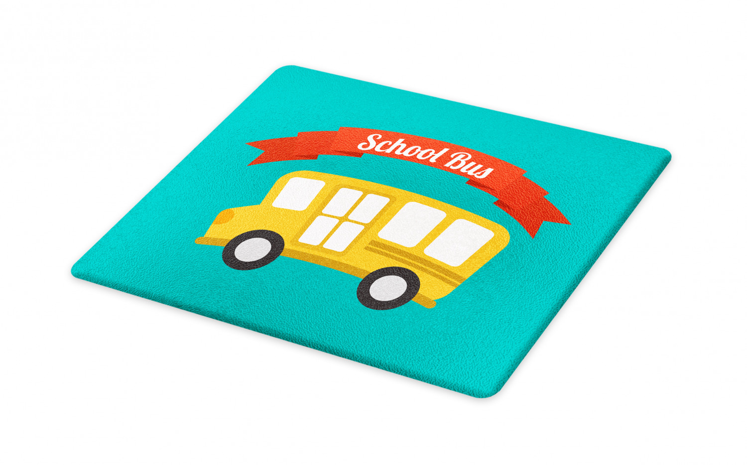 School Bus Cutting Board Simple Doodle With Lettering