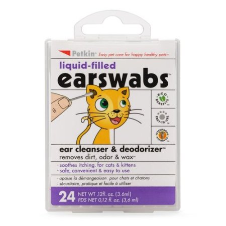 Petkin Liquid-Filled EarSwabs Ear Cleanser & Deodorizer for Cats, 0.12 ...
