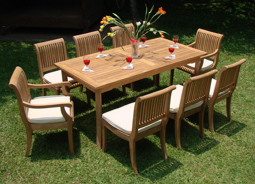 teak dining set 8 seater 9 pc 94 mas trestle leg double extension rectangle table and 8 giva arm captain chairs outdoor patio grade a teak wood