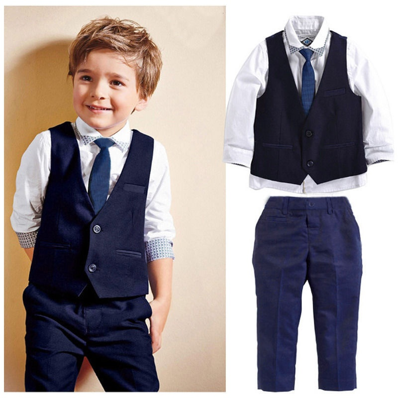 fashion new baby kids boys suit tops shirt waistcoat tie pants formal flower boy acute s 4pcs outfits clothes