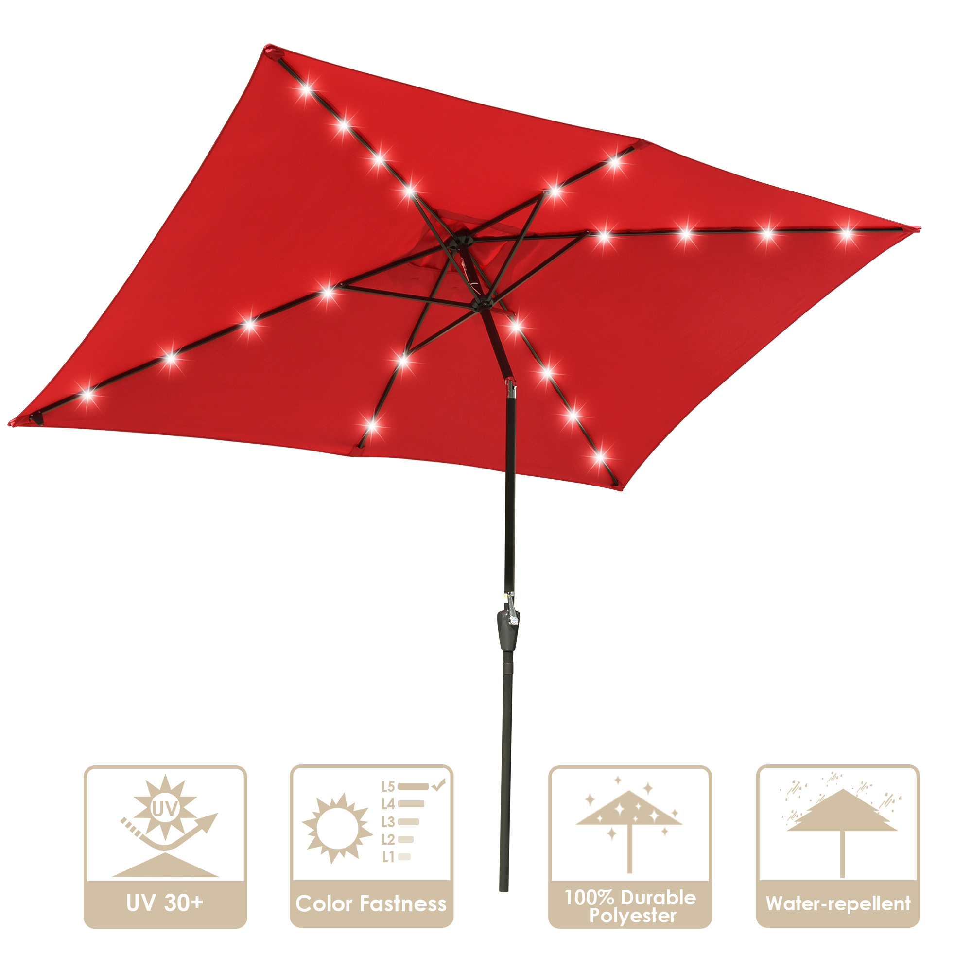 10x6 5ft rectangle outdoor patio beach market aluminium umbrella w sun shade solar powered led light crank tilt