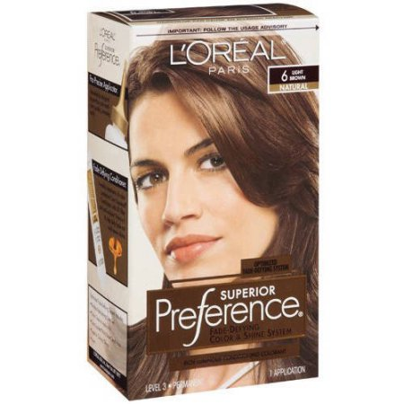 l oreal paris superior preference fade defying color shine hair color 6 light brown 1 kit