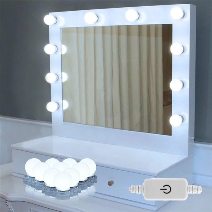 Hollywood Style Led Vanity Mirror Lights 10 Led Bulbs Kit Lighting Fixture Strip For Makeup Vanity Table Set In Dressing Room Or Bathroom Mirror Not Included Walmart Com Walmart Com