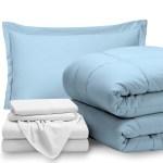Bare Home 5 Piece Bed In A Bag Twin Comforter Set Light Blue Sheet Set White Walmart Com Walmart Com