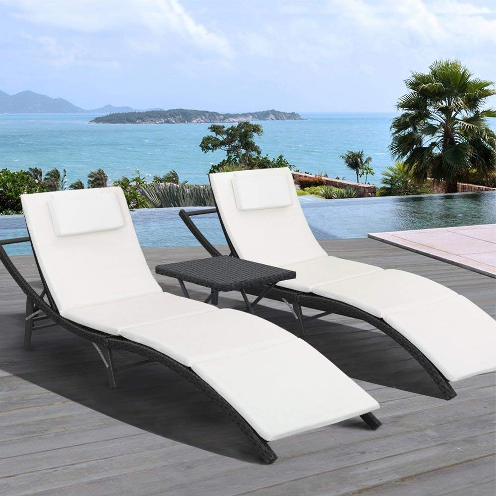 walnew 3 pcs patio furniture outdoor patio lounge chair adjustable folding lawn poolside chaise lounge chair pe rattan patio seating with folding