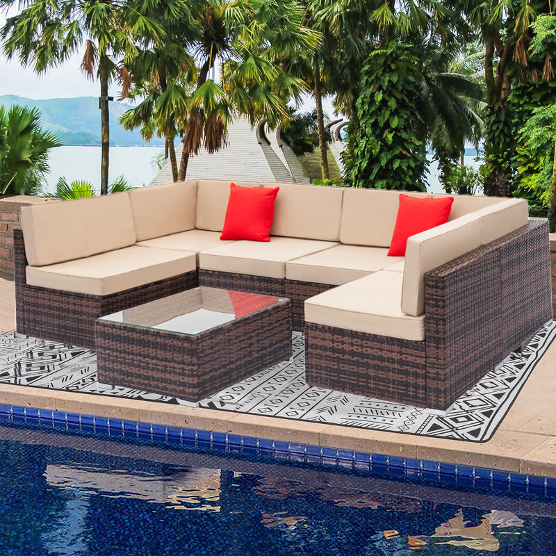 7 piece rattan patio furniture sofa set all weather brown wicker patio conversation set with coffee table and beige cushions outdoor sectional sofa