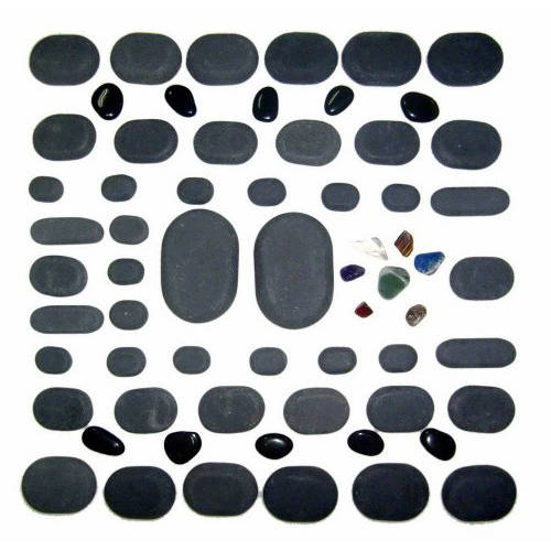 Sivan Health and Fitness 60-Piece Basalt Lava Hot Stone Massage Kit For Hot Stone Therapy