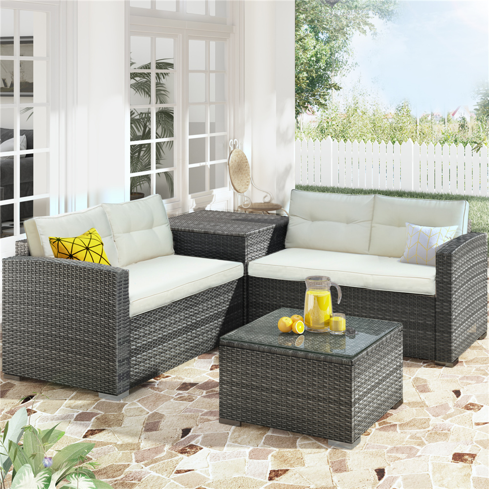 clearance wicker patio sets 4 piece patio furniture sets with loveseat sofa storage box tempered glass coffee table all weather patio