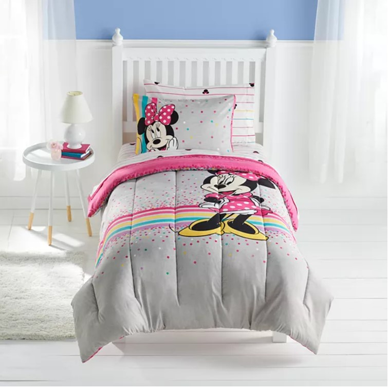 minnie mouse rainbows girls full comforter sheet set shams 9 piece bed set