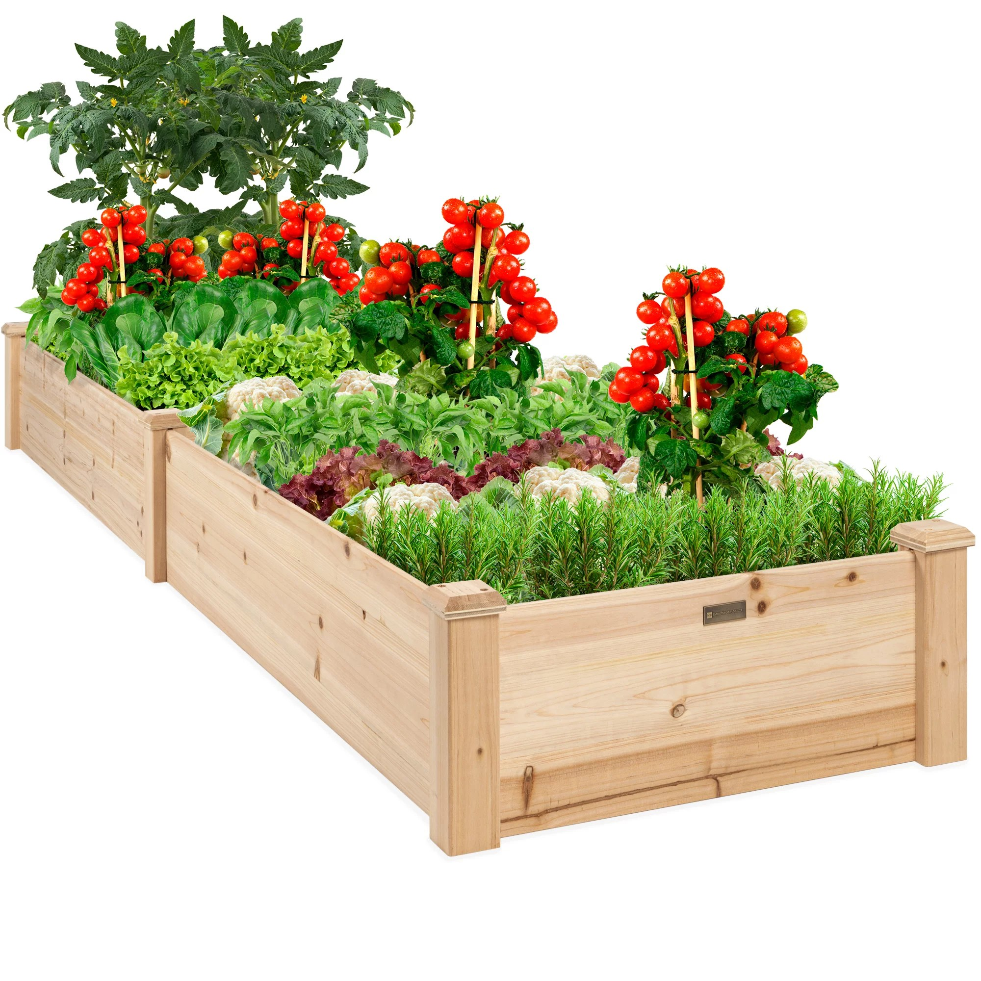 best choice products 8x2ft outdoor wooden raised garden bed planter for grass lawn yard natural walmart com