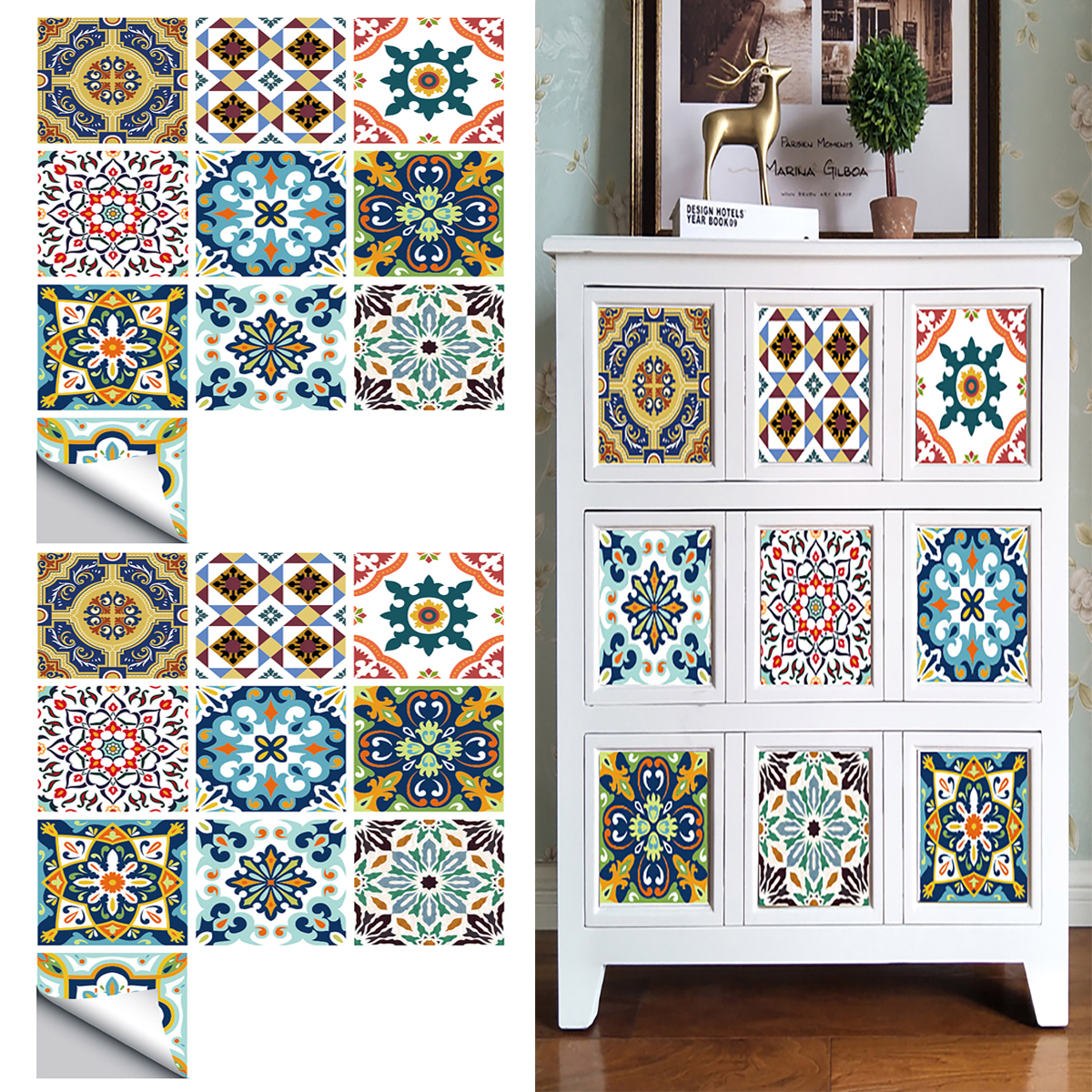 goory 10pcs removable traditional mexican talavera tile stickers for bathroom kitchen backsplash decoration 4x4 inch wall sticker decals