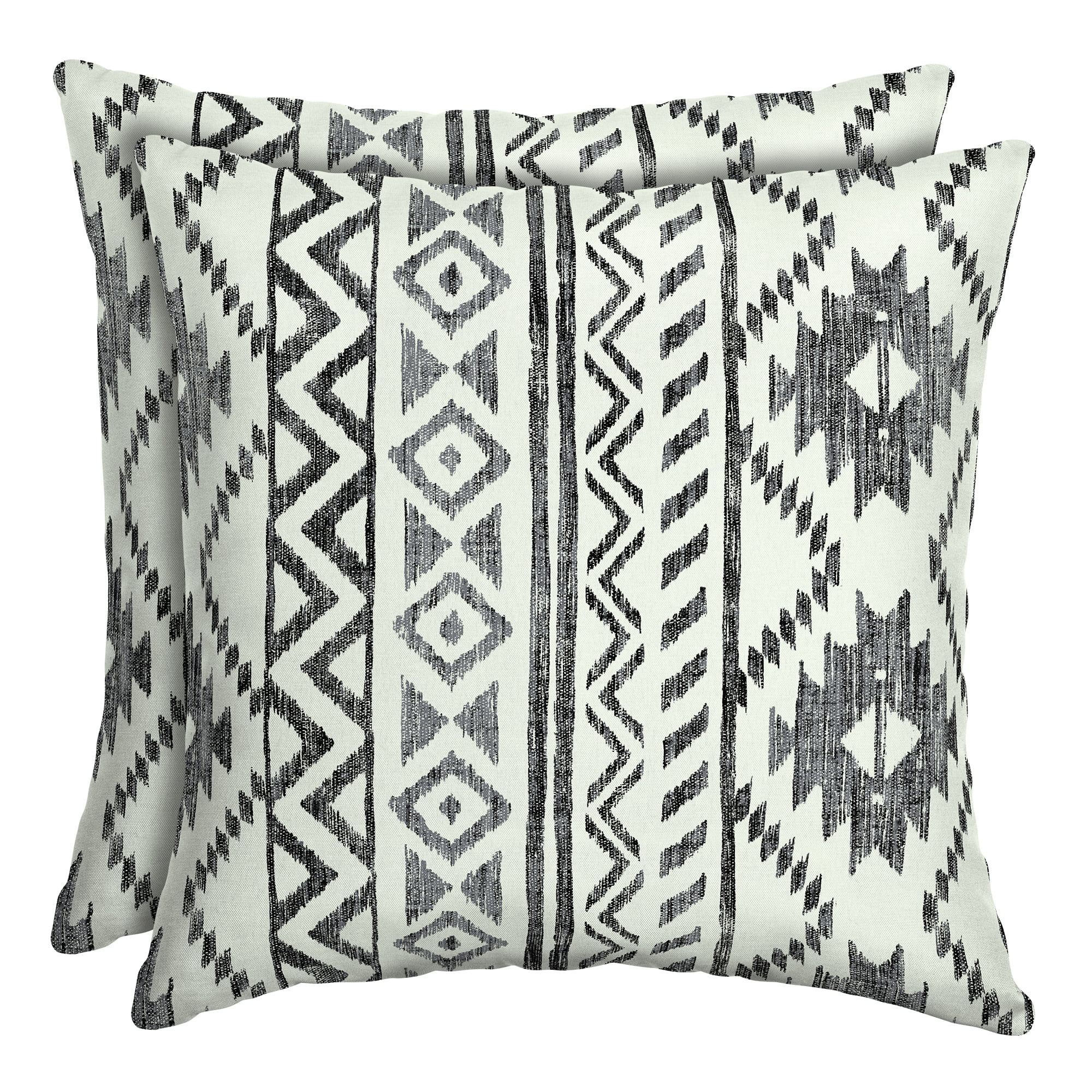 mainstays black and white tribal 16 outdoor throw pillow set of 2 walmart com